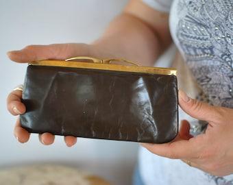 Vintage LEATHER WALLET , metal frame wallet .....(410)
