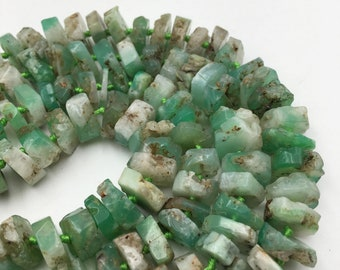Natural Chrysoprase Irregular Faceted Rondelle Gemstone Loose Beads Size Approx 5x15mm