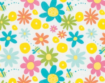 Daisy - Aqua - Pandas by David Walker from Free Spirit - Floral Fabrics - Fabric by the Yard - David Walker Fabrics - Daisy Fabrics - Cotton