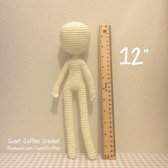 12 Base de la muñeca delgada patrón Amigurumi Crochet