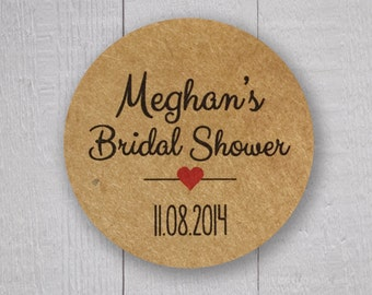 Kraft Bridal Shower Stickers, Bridal Shower Labels (#006-KR)