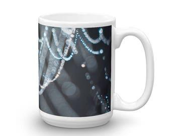 Spider Web Mug, Cob Web Coffee Mug, Unique Coffee Cup, Dew Drop Coffee Cup, Ceramic mug, Mug made in the USA, Microwave Safe Mug