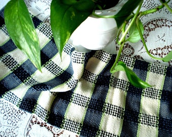 Kitchen towel, tea towel, hand woven cotton, plaid, dark grey, cream, white