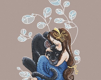 Girl with Panther Cross Stitch Pattern pdf Fantasy Instant download printable PDF cross stitch for girl black Panther cross stitch pattern