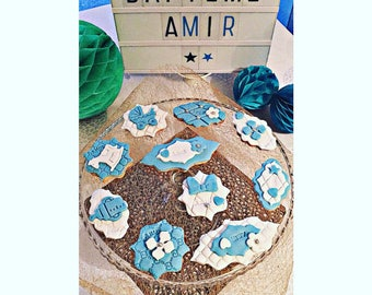 20 personalized clay biscuit has sugar theme newborn baby Boy.
