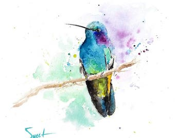 Hummingbird art watercolor bird print hummingbird decor bird decor bathroom art kitchen art bird wall art bird artwork