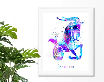 Capricorn #4 Watercolor  Astrology Art Print, Capricorn  Sign , Capricorn Zodiac, Capricorn Wall Art,  Capricorn Poster, Gifts for Capricorn