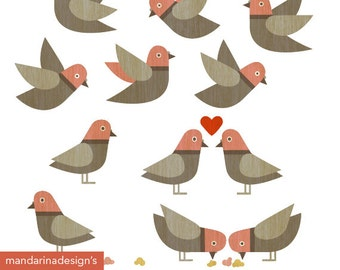 Little doves clipart, Digital Clip Art Graphics for Scrapbooking Web design DIY Printable Instant Download Personal and Small Commercial Use