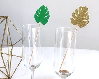 Monstera Leaf Drink Stirrers, Engagement Drink Stirrers, Hawaiian Wedding, Luau Party Decoration, Tropical Stirrers, Moana Party (Set of 8)
