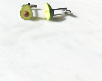 Avocado Unisex Cufflinks - Avocado cuff links - food jewelry - vegan cufflink - food jewellery - Wedding - grooms wear - cuff links