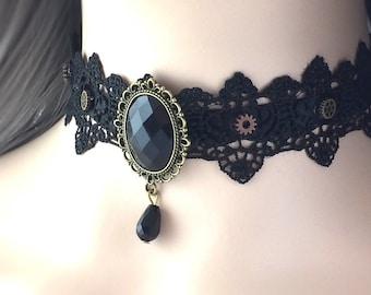 Black Lace Choker Steampunk Wedding Dress Black Victorian Choker Gothic Clothing Women Gothic Costume Masquerade Thick Choker 40A