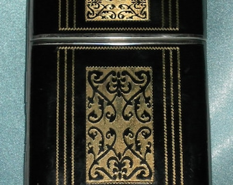 FREE USA SHIPPING - High Society Vintage 1940's Black & Gold Art Deco Cosmetic / Cigarette Case