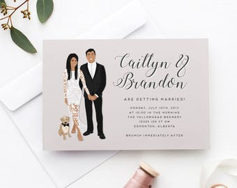 Portrait Wedding Invitation, Custom Portrait Wedding Invite Suite, Couple Portrait Invitation, Illustrated Portrait Invitation Set