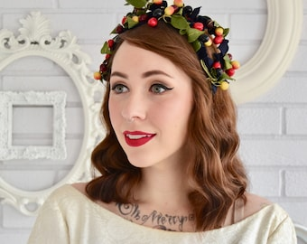 Vintage Headband Hat with Dark Blue Velvet and Fruit and Leaves