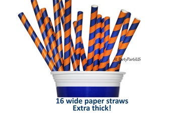 blue and orange straws, school colors, graduation party decorations, team spirit, 16CT, college football, smoothie straws, milkshake, paper