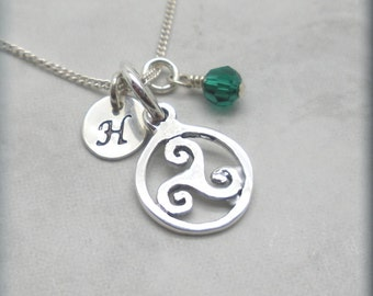 Personalized Triskele Necklace Birthstone Jewelry Irish Jewelry Triskelion Initial Charm Triple Spiral Celtic Knot Sterling Silver