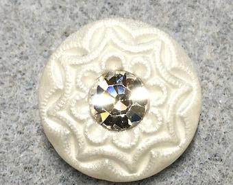 White Satin Rhinestone Czech Glass Button with Glass Shank 18mm