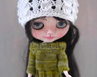 Dolls White Lacey Beanie Hat, Dolls Hat, Dolls Beanie Hat, Other Colours