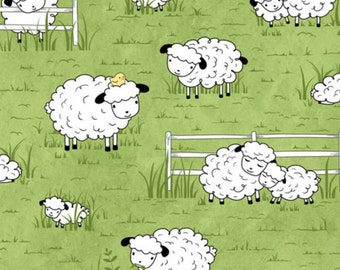 """Sheep Fabric, Cartoon Fabric: SHEEPS and PEEPS Crazy Sheep on Green by Quilting Treasures 100% cotton Fabric by the yard 36""""x43"""" (QT504)"""