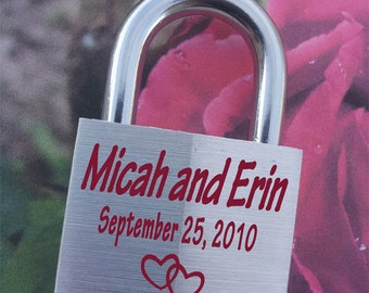 LOVE LOCK, Engraved  Padlock, Personalized, Wedding, Anniversary, Proposal, Gift