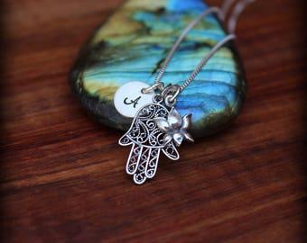 Hamsa hand Lotus necklace, Meditation necklace