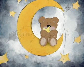 Teddy Bear Babys Nursery Wall Art 8 x 10 Print, Teddy Bear Art for Childrens Decor,  Teddy Bear Artwork, Childrens Art Print  (420)