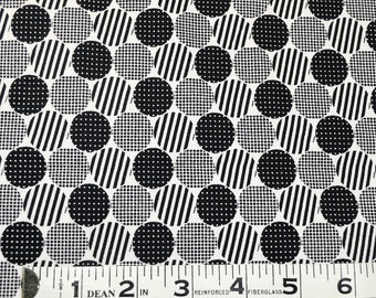 Item 179,  Circles Polka Dots and Stripes,  100% Cotton Fabric,  By the Yard