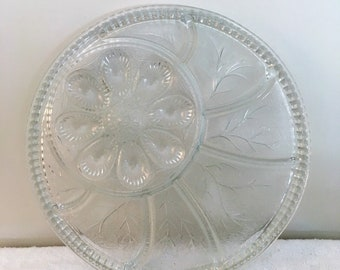 Pressed Glass Round Serving Tray