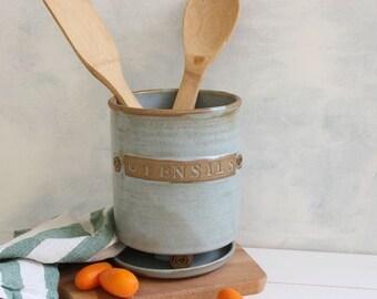 Ceramic utensil holder, utensil crock, gray, kitchenware, housewarming gift, chef gift, kitchen decor, spoon holder, storage crock