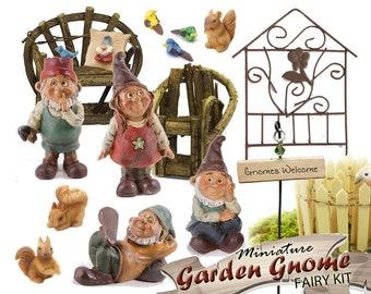 Miniature Garden Gnome Kit ~ Large Woodland Gnome Fairy Garden Gift Set ~ Mini Gnomes for Garden ~ Fairy Garden Gift Ideas & Accessories
