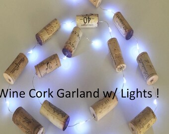 Christmas Lights, Wine Cork Garland, Christmas Tree Decor, Christmas Decoration, Wine Gift, Wine Themed Gift