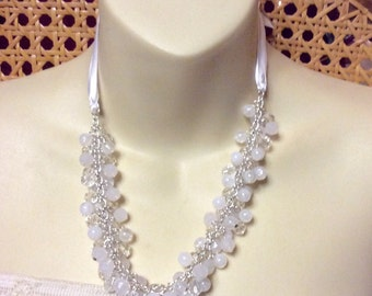White beads beaded cluster wedding necklace silk ribbon