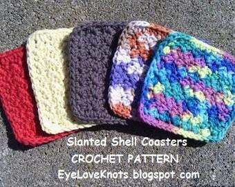 CROCHET PATTERN - Slanted Shell Coasters - Easy Crochet Pattern PDF - Permission to Sell Items