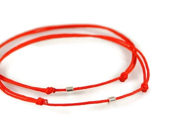 Red String Of Fate Bracelets. Silver Wish Bracelet. Matching Couple Bracelets. His Hers Protection Bracelet.Kabbalah Red String.Yoga Jewelry