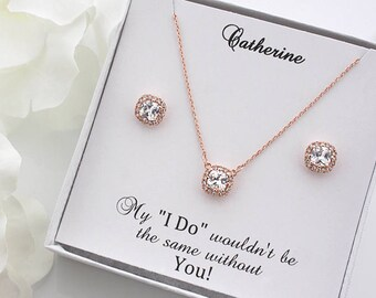 Julia - Rose Gold Wedding Jewelry Set, Bridal Earrings + Necklace, Crystal Cushion Earrings, Stud Earrings, Bridesmaid Gift Set