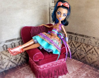 MH Monster Doll High Fashion - Steampunk bronze party dress with aqua and lilac.