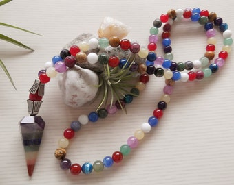 Red Jade Amethyst Chakra Mala Necklace - Prayer Beads - CHAKRA Crystal Point Pendant Gemstone Yoga Jewellery - Made in the UK