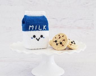 CROCHET PATTERN - Milk and Cookies - PDF Instant Download, milk carton, chocolate chip cookies, amigurumi food, pretend play, crochet food