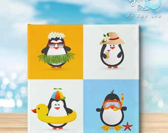 Penguins going to the beach - canvas print, funny, hawaii, ocean, gifts by the sea