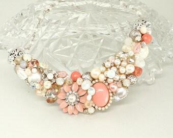 Coral Statement Bib- Coral Bridal Necklace- Salmon Bridal Necklace- Bridesmaid Necklace- Coral Pink Statement Necklace-Peachy Pink Necklace