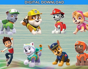 Paw patrol centerpiece - cake topper double sided birthday decoration - instant download YOU PRINT