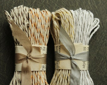 Metallic Striped Bakers Twine -  26 Yards Vintage Style Hemp Packaging Trim -  Thick Striped Holiday Metallic Gold Silver Copper String