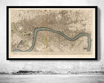 Beautiful Old London Map 1749, England United Kingdom