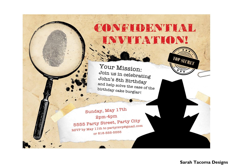 Secret Agent Spy Birthday Party Invitation. Customized.