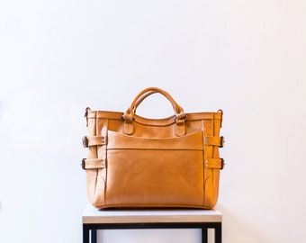 CLAUDIA - Leather Tote Bag, Leather Convertible Backpack, Tote Backpack, Convertible Backpack, Tan Tote Backpack