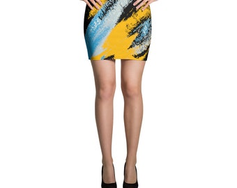 Grunged WaterColors Mini Skirt