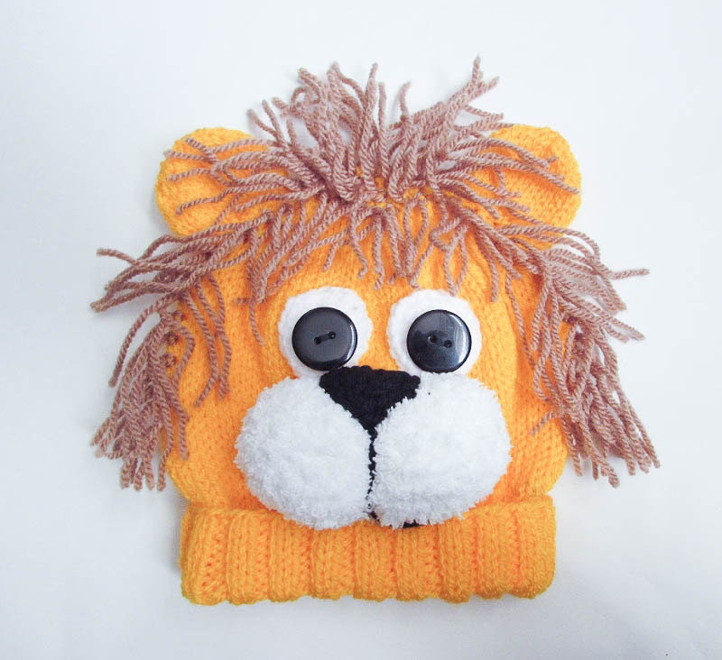 Knitting Pattern Lion Hat Lion Baby Beanie Hat Animal Hat Character