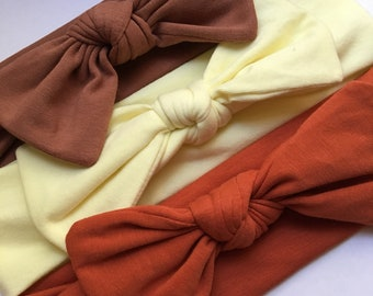 Brown, Yellow & Rust Organic Fabric Hairband Trio