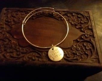 Never give up! Adjustable inspirational silver charm bracelet