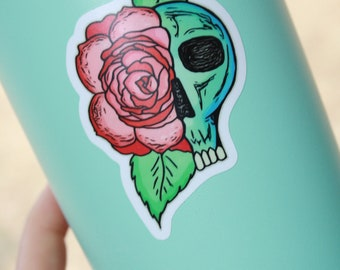 Skull with Rose Vinyl Decal
